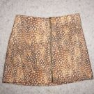 TOPSHOP Felt Bambi Print mini skirt sz US 6/UK 10 gold color front zipper NWT