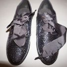 Gap big girls shoes size 5 silver glitter oxfords with gray ribbon laces new