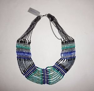 NAKAMOL Blue & Silver Czech Crystal Layered Necklace 10 rows blue gray beads NWT