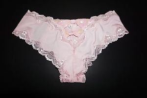 Victoria's Secret cheeky size M light pink with lace trim & sequin bows NWOT