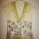 J. Jill cotton V-neck blouse sz PS desert etch cream w/ magenta green floral NWT