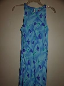 Maggy London rayon maxi dress size 8 light blue with purple floral pattern EUC