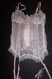 Victoria's Secret bustier corset Chantilly Lace ice pink white black sz 34C NWT
