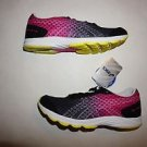 Womens Asics Gel Kali 33 sz 8 black/white/hot pink with yellow accents NIB