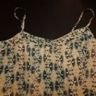 Moulinette Soeurs silk sundress sz 4 cream with navy tan pale green print EUC