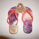 Girls Havaianas flip-flops orange with tye dye pink straps size 11C/12C NWOT