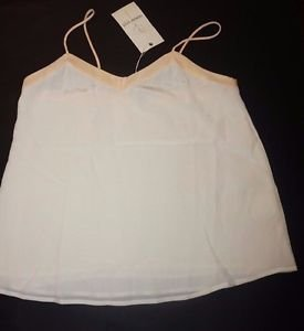 Amour Vert silk camisole size M cream ivory with peach trim NWT $120