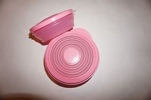 Tupperware set of 2 Mini Stuffables bowls 1 cup & 2 cup rare pink color new