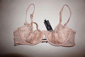 Victoria's Secret Designer Coll bra 36C beige leather lace Swarovski crystal NWT