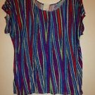 Ella Moss loose rayon blouse top blue with multi-color stripes size S EUC