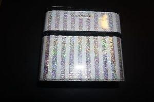 Victoria's Secret silver stripe sequin metallic train case 2 layer zip close NWT