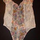 Victoria's Secret teddy cream w/ floral print & cream lace ruffles size M NWT