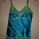 INC silk camisole size 2 bright turquoise with yellow-green lace trim EUC