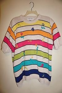 Alfred Dunner short-sleeve sweater top XL tan w/ multicolor stripes, flowers EUC