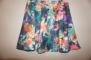 Romeo & Juliet Couture floral print skater skirt size L bright colors NWOT