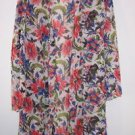 Natori short robe size L white with blue red green elegant floral print EUC