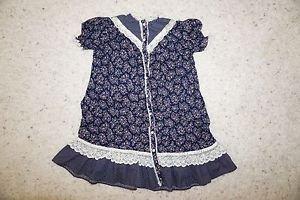 Girls Gunne Sax vintage prairie dress sz 6 navy floral print w/ ivory lace used