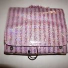 Victoria's Secret hanging cosmetic case pink stripes with sequin shimmer NWT