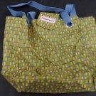 Tupperware logo folding totebag snap close olive green yellow blue new