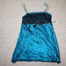 Morgan Taylor Intimates gown chemise turquoise w/ black lace rhinestones XL NWT