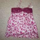 Morgan Taylor Intimates short gown chemise white with fuchsia flowers sz XL NWT