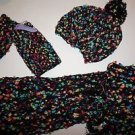 Winter set from Claires scarf/hat/hand warmers black yarn with bright colors NWT