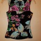 BCBG Max Azria black with bright floral print twist-strap tank sz XS EUC