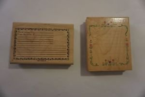 Set of 2 wooden block stamps recipe card stamp and lined note stamp EUC