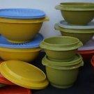 Tupperware vintage Servalier bowls w/ clear seals orange green yellow used