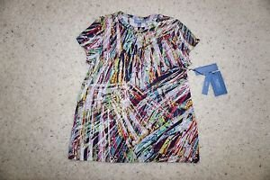 Simply Vera Vera Wang for Kohls multi-color paint streak cotton shirt sz PL NWT