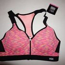 Victoria's Secret Sport Incredible front-close sport bra 34B pink spacedye NWT