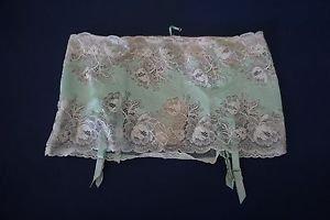 Victoria's Secret Very Sexy aqua green garter skirt silver thread size M NWOT
