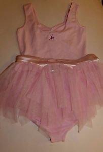 Capezio Future Star skirtall pink ruffle leotard w matching tulle skirt sz L NWT