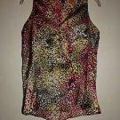 Hale Bob loose sleeveless blouse size S black tan magenta yellow print EUC