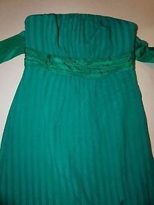 Moulinette Soeurs strapless silk dress faint green stripes empire waist sz 2 EUC