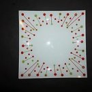 Partylite Merry Christmas candle garden tray white w/ red & green pattern NIB
