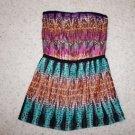 "BCBG Max Azria ""Taja"" pleated strapless mini dress size L multi-color NWT"