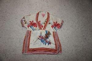 Yumi Kim silk blouse top sz XS cream with coral blue brown floral pattern EUC