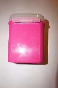 "Tupperware Storzalot bright pink container w/ clear hinged lid 5.75"" height new"