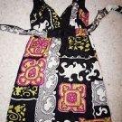 Alice & Trixie silk sundress sz XS black with gold magenta print center knot EUC