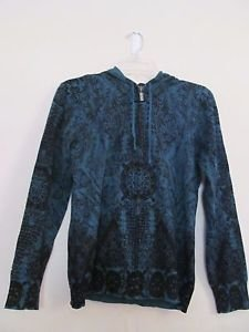 "Womens Soma hooded sweater size XS ""decadent border"" pattern teal color NWT"