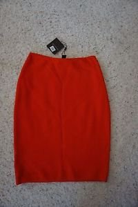 "St. John textured twill knit skirt size 2 red-orange sunset ""geranium"" NWT $495"