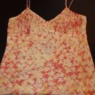 INC silk camisole yellow peach coral floral pattern pleated top size 2 EUC