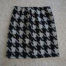Amanda + Chelsea size 6 houndstooth black/ivory checkered pencil skirt NWT