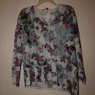 Catherine Malandrino thin sweater sz XS aqua pink black floral metallic NWOT