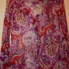 Tahari sheer silk blouse sz XS long sleeve ruffles ivory red purple pink EUC