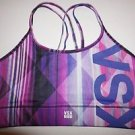 Victoria's Secret show-off sport bra sz M purple pink black lines geometric NWT