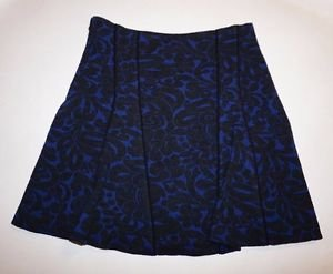 Veronica Beard flounce skirt sz XS navy w/ gray scroll pattern wool blend NWT