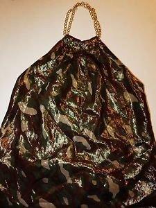 INC metallic camoflage print halter neck top gold chain neck sz 6 EUC