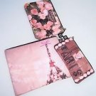 Bath & Body Works Paris theme 3 cosmetic make-up bags flowers Eiffel tower NWT